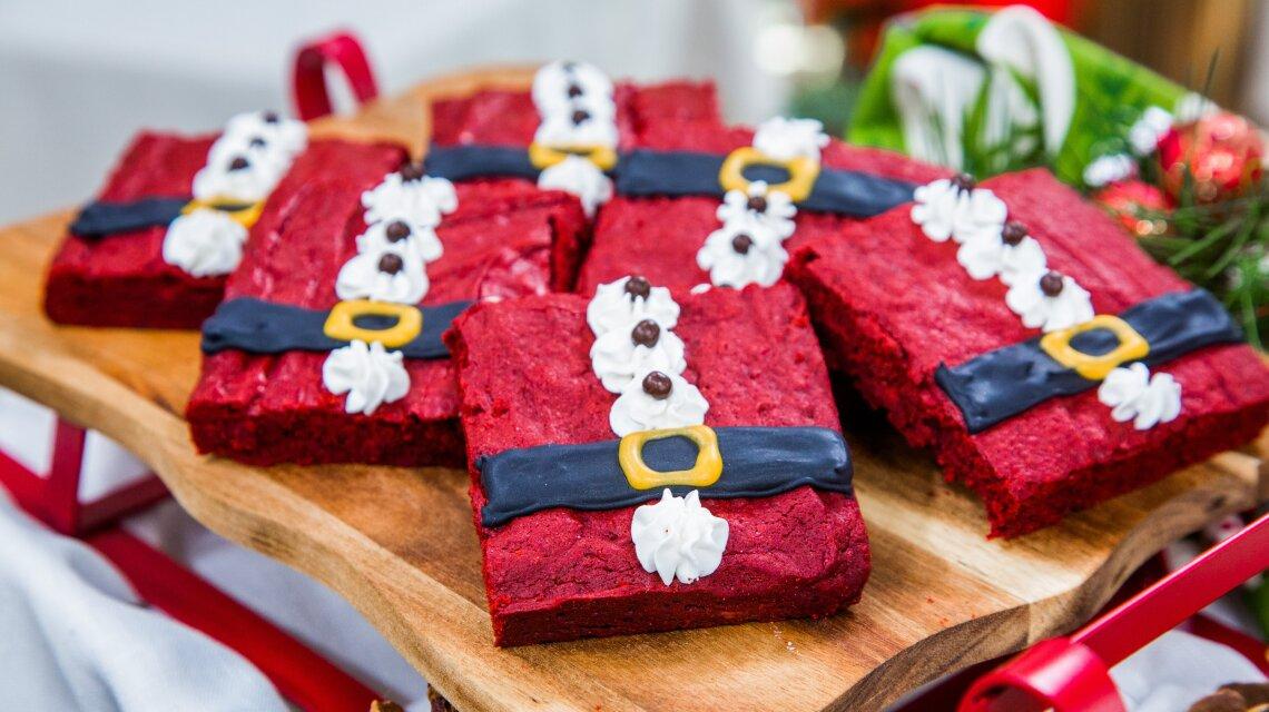 Red Velvet Santa Brownies