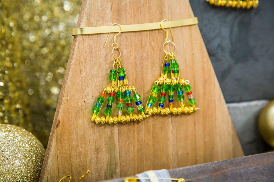 DIY Christmas Tree Earrings