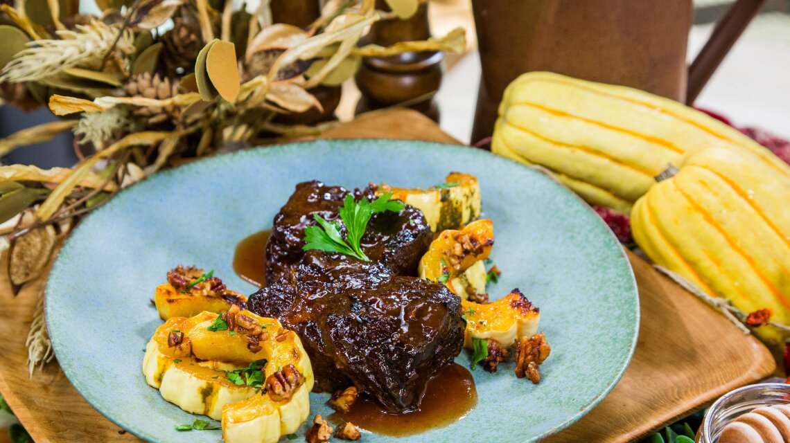 Pressure Cooker BBQ Beef Ribs and Delicata Squash with Maple Butter