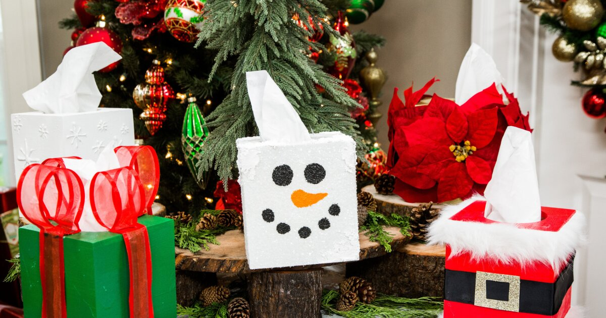 Diy Christmas Tissue Boxes Home Family