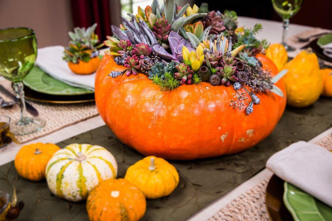 DIY Succulent Pumpkin Centerpieces