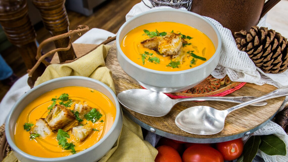 Roasted Curry Tomato Soup with Grilled Cheese Croutons
