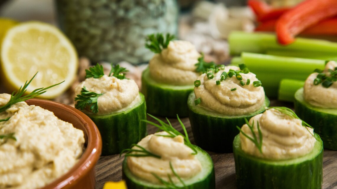 Cucumber Hummus and White Bean Puree Cups