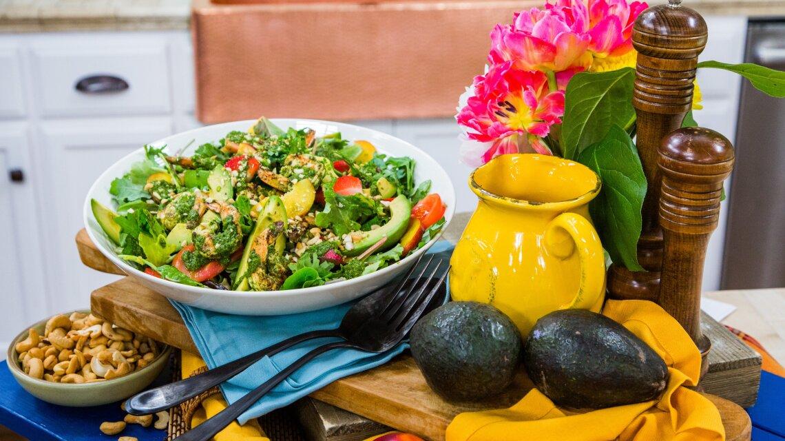 Grilled Shrimp Summer Harvest Salad with Basil Vinaigrette