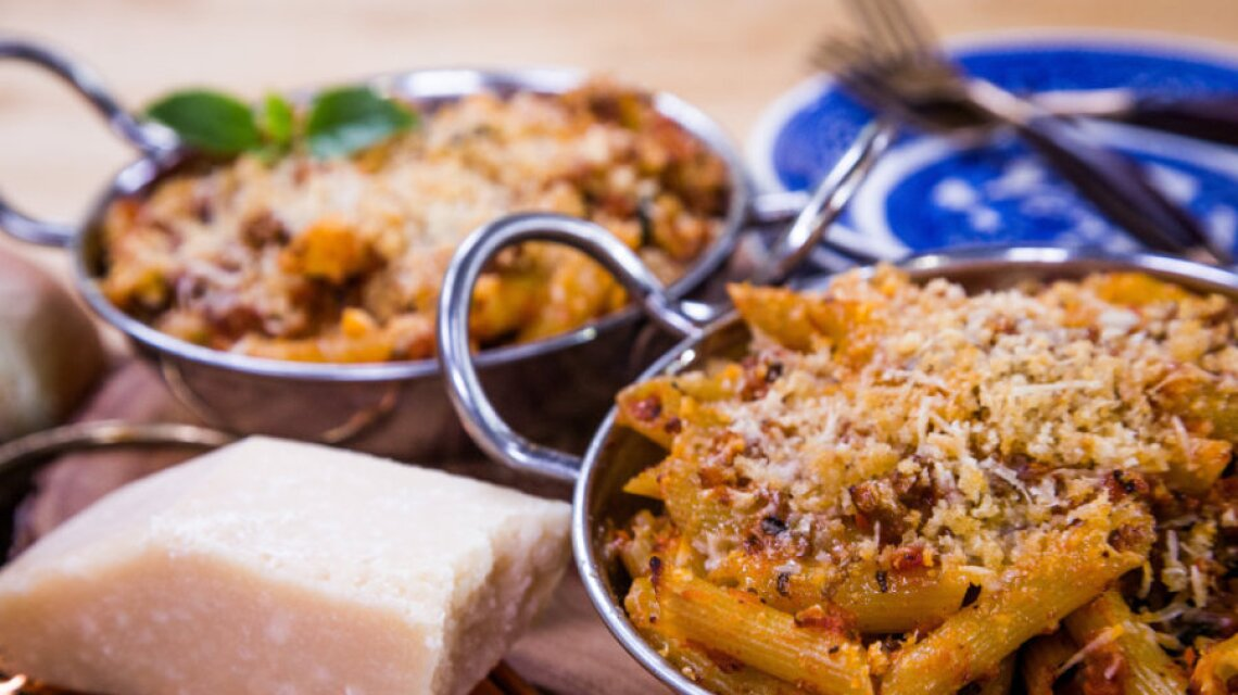 Cristina Ferrare's Baked Penne with Turkey Bolognese Sauce