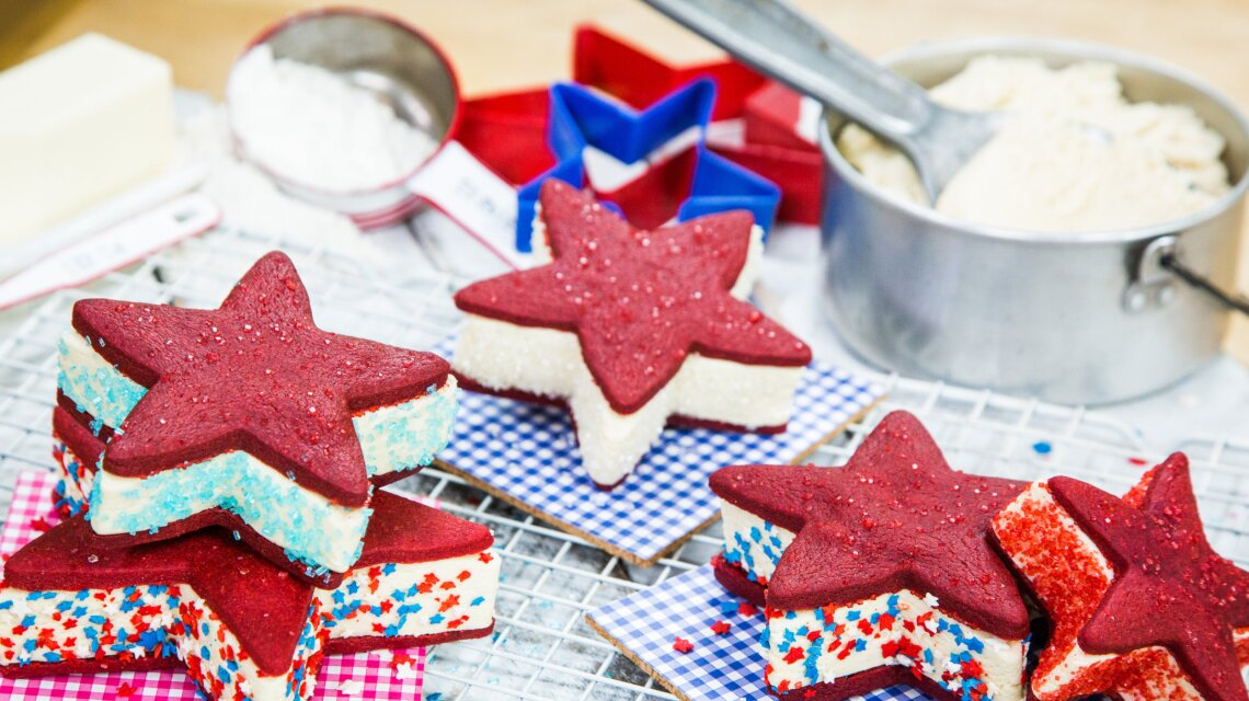 Patriotic Ice Cream Sandwiches, with Red Velvet Shortbread Stars & Cheesecake Ice Cream
