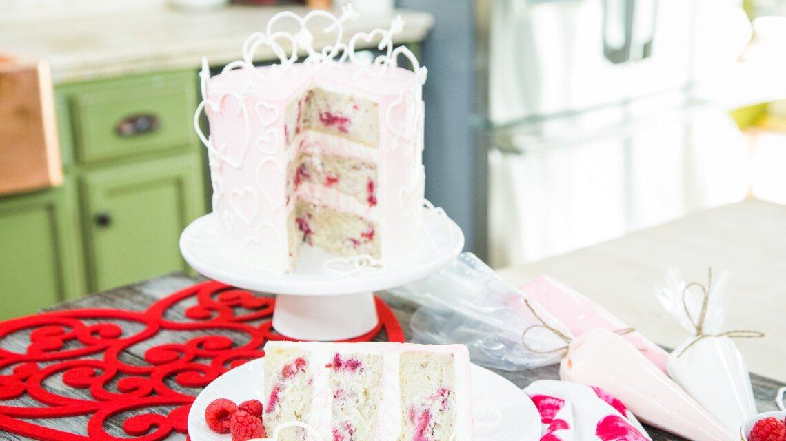 White Chocolate Raspberry Valentine's Cake