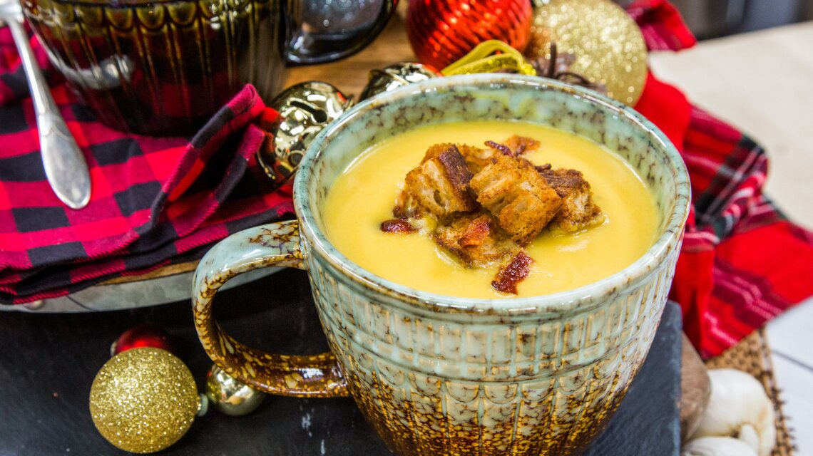 Butternut Bisque with Apple Croutons