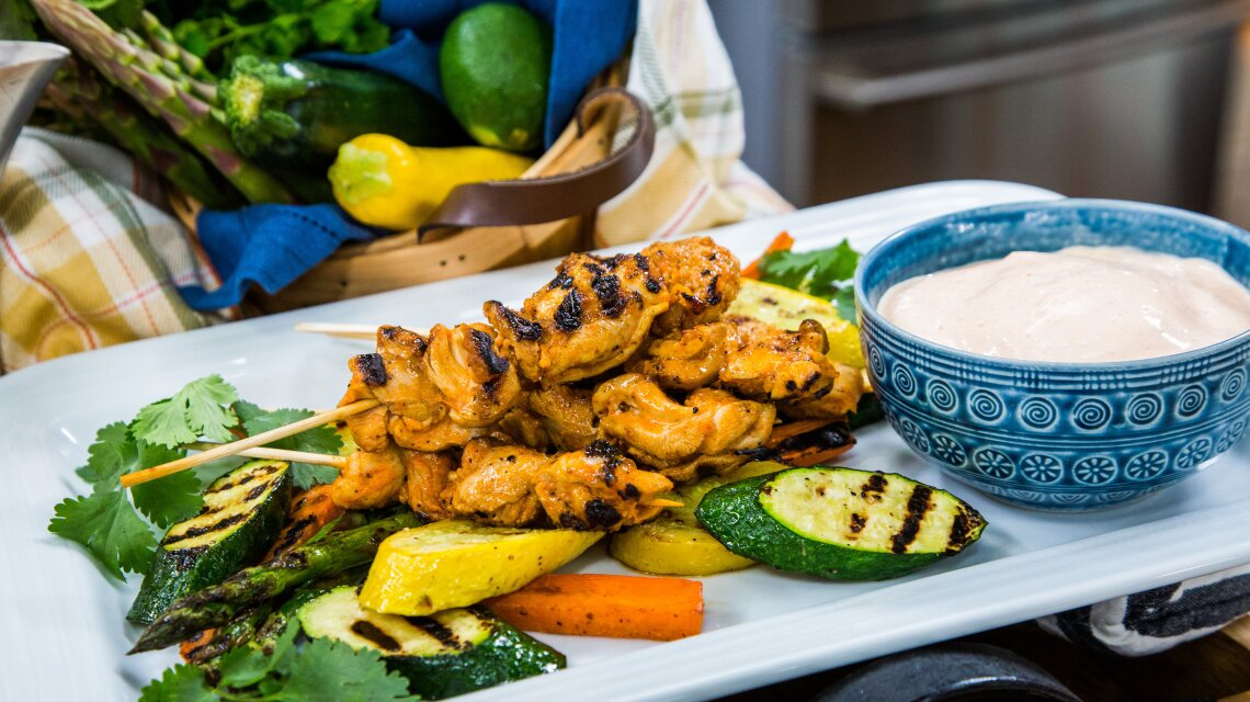 Grilled Spicy Lime Chicken Skewers with Grilled Veggies
