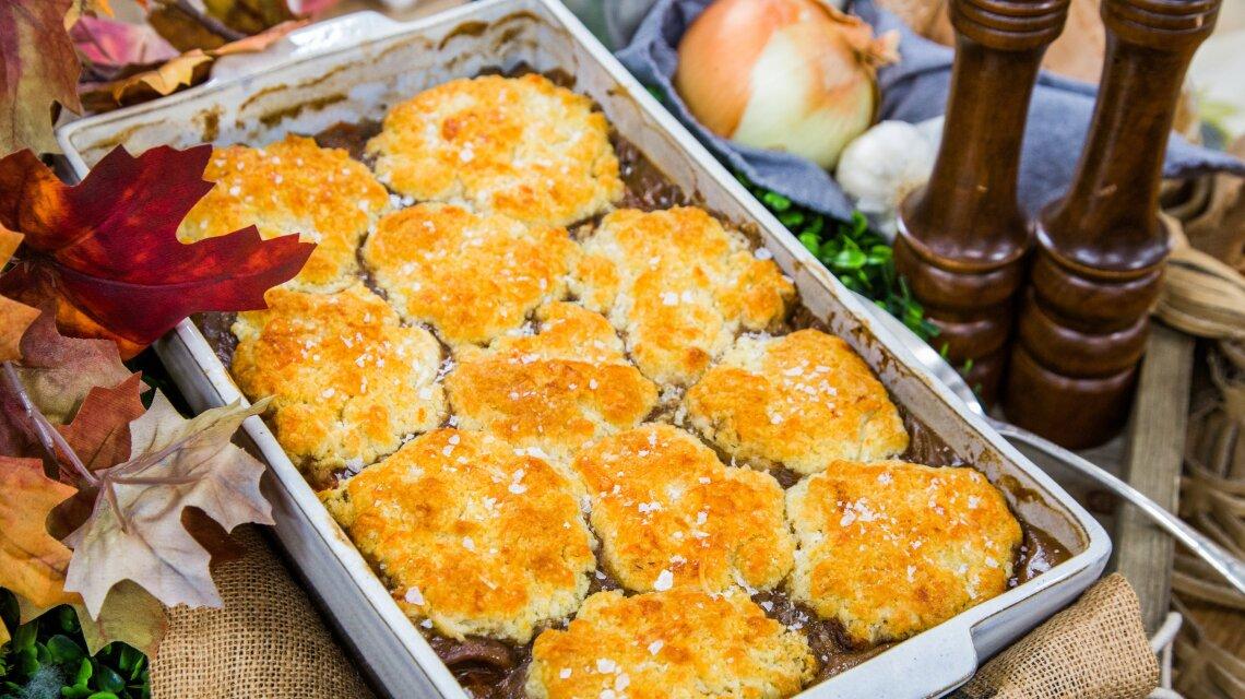 Flank Steak Casserole with Mushroom Cobbler