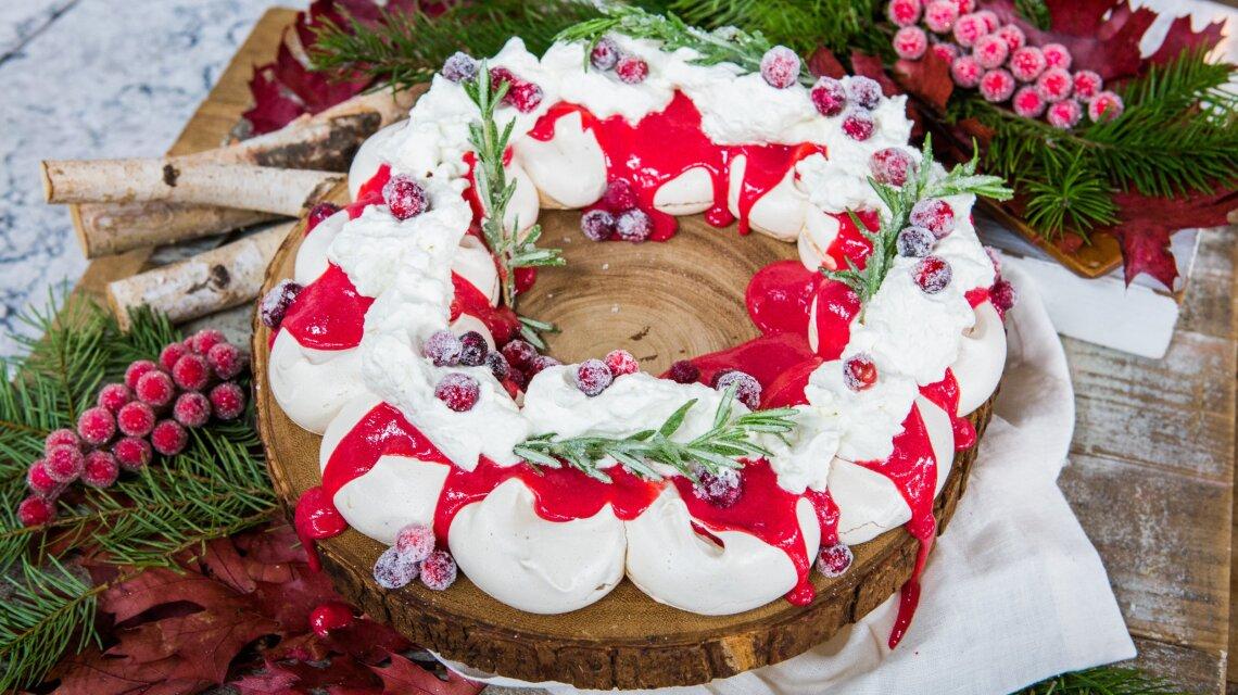 Holiday Cranberry Meringue Wreath