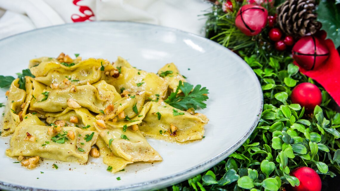 Agnolotti with Brown Butter and Hazelnut Sauce