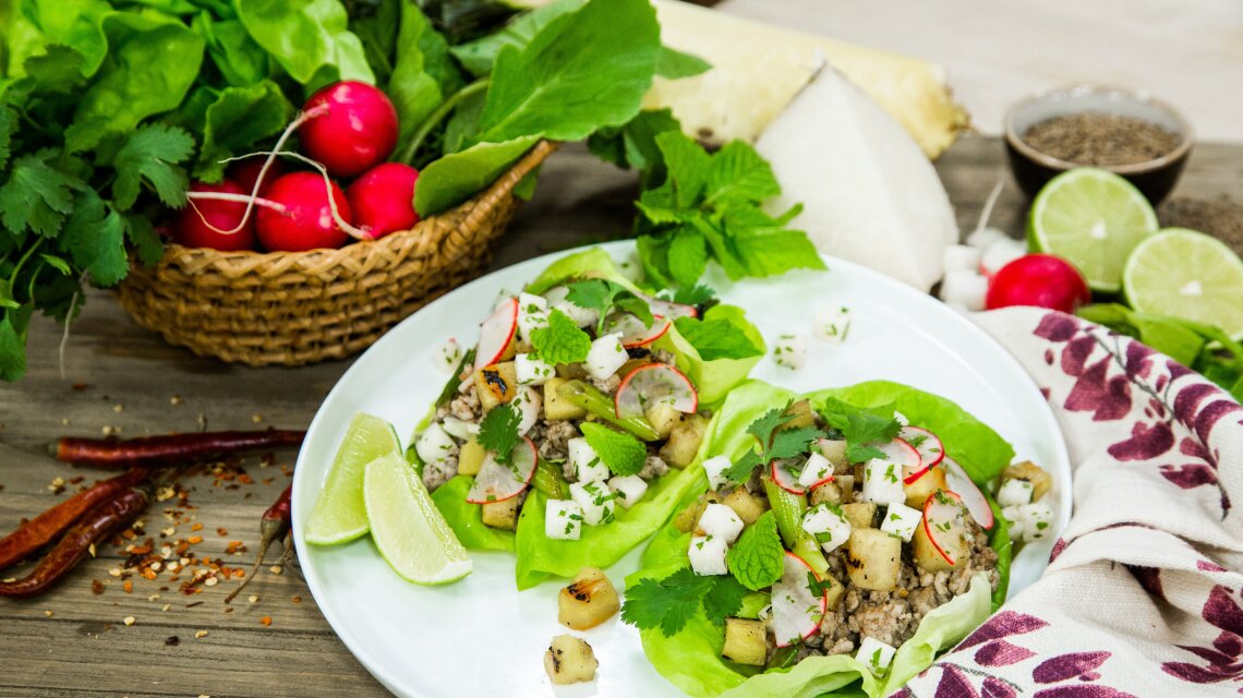 Chicken Lettuce Cups with Grilled Pineapple, Fresh Mint