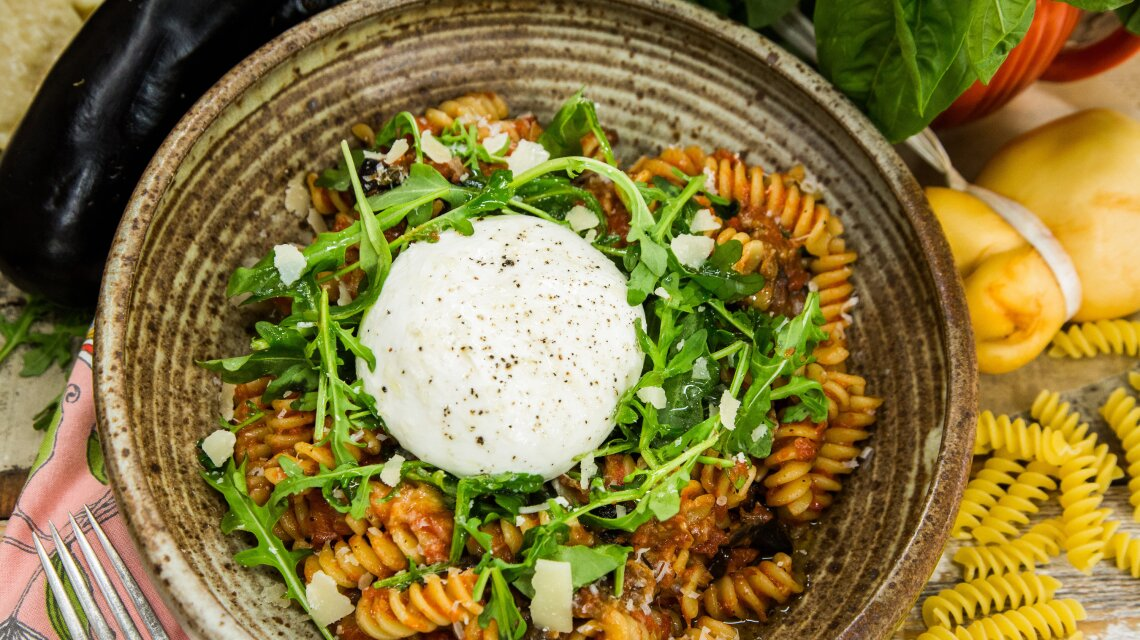 Fusilli with Roasted Eggplant and Smoked Scamorza