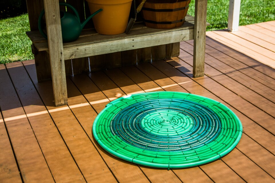 DIY Recycled Hose Outdoor Rug