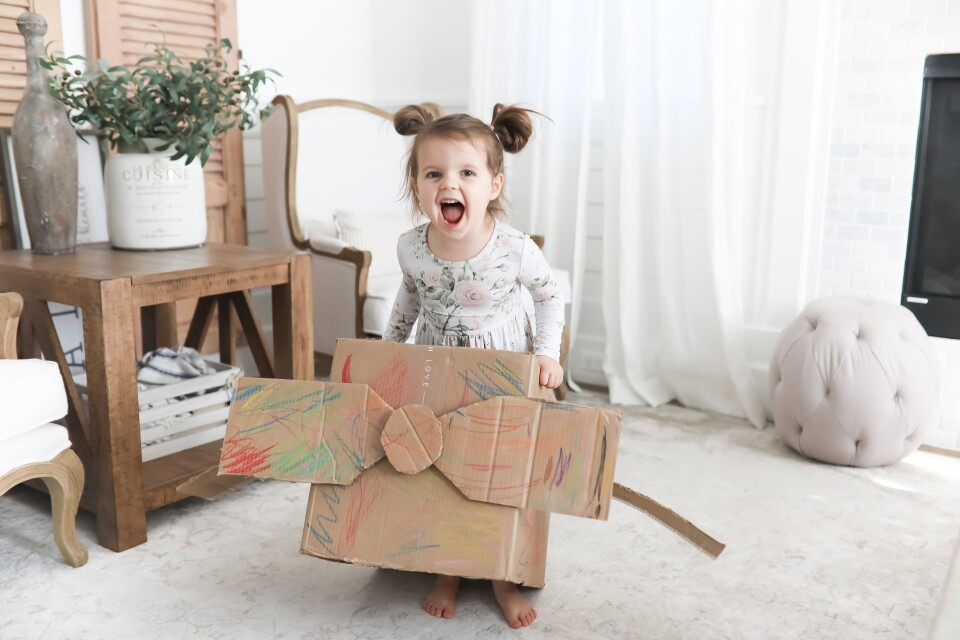 At Home With Our Family - Ali's DIY Cardboard Airplane