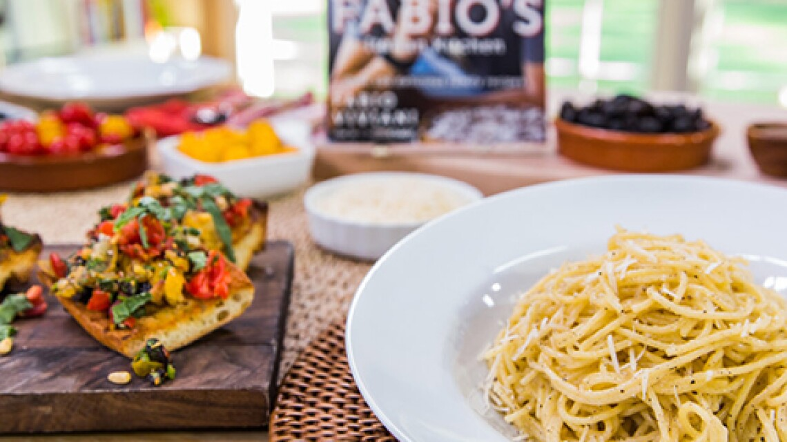 Fabio Viviani's Spaghetti Cacio E Pepe & Bruschetta With Cherry Tomato Tapenade