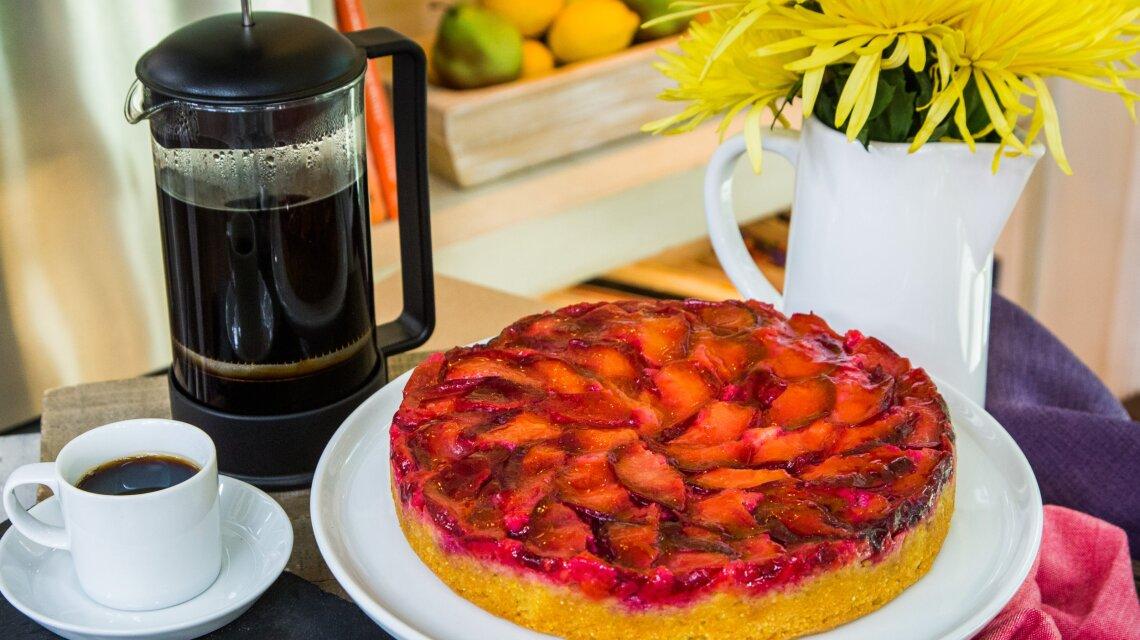 Black Plum Cornmeal Upside-Down Cake