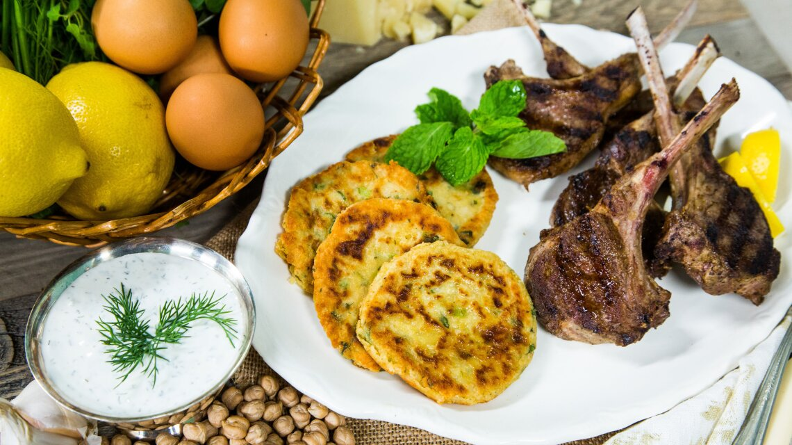 Pan-Grilled Lamb Chops with Chickpea Fritters