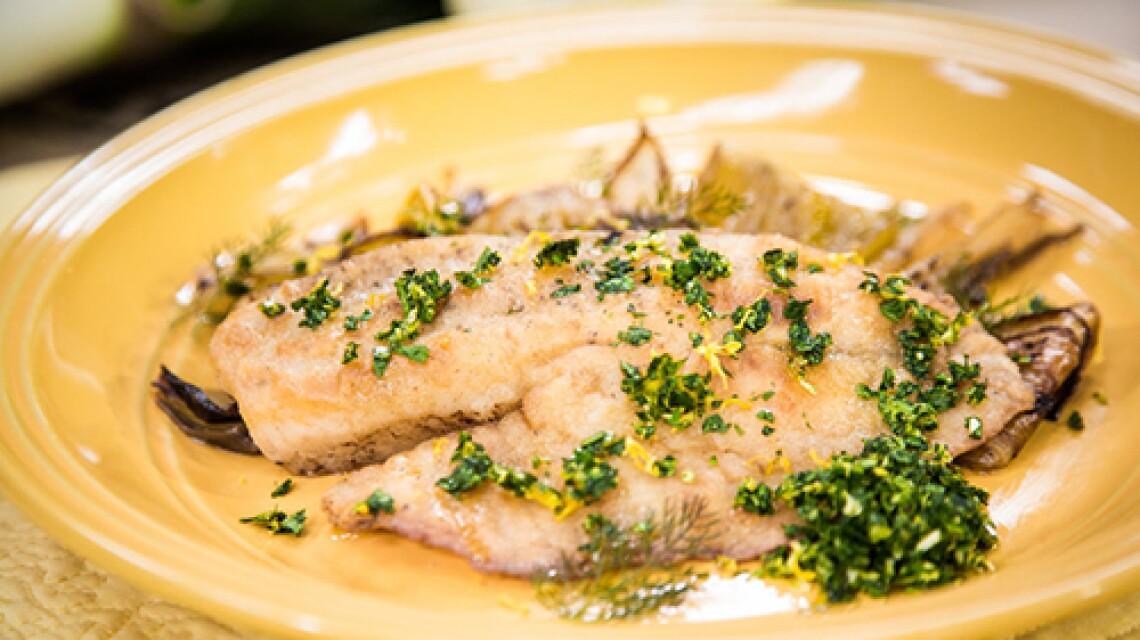 Chef Nathan Lyon Makes Pan-Seared Tilapia With Braised Leeks and Gremolata