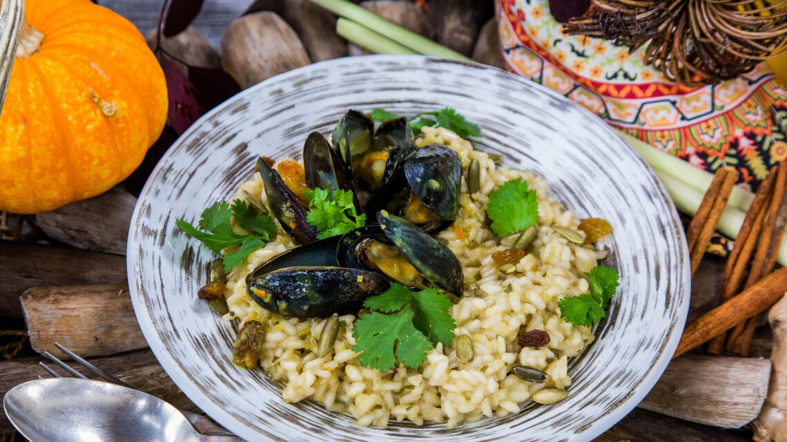 Coconut Curry Braised Mussels with Acorn Squash Risotto
