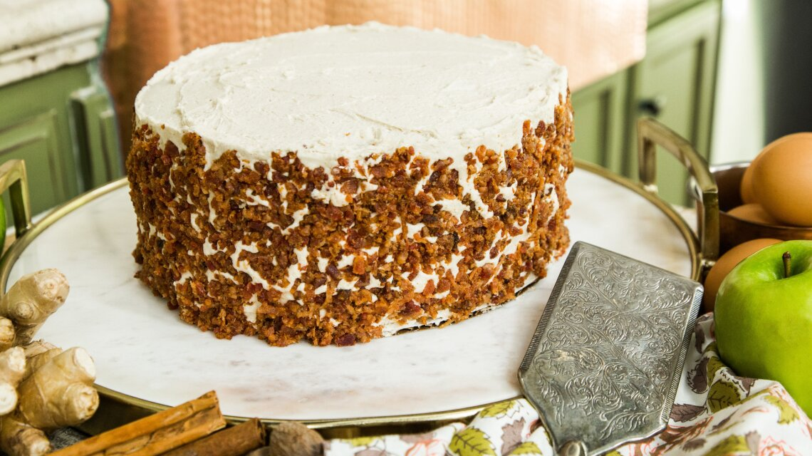 Spiced Apple Cake with Maple Bacon Frosting