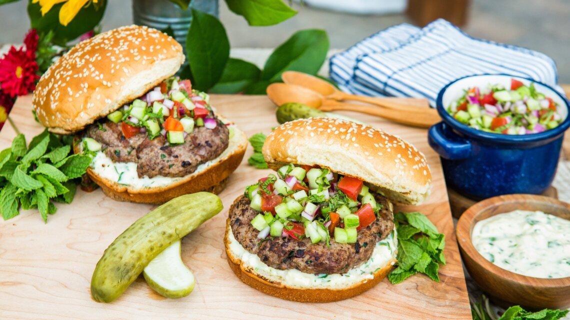 Lamb Burger with Feta Sauce And Greek Tomato Relish