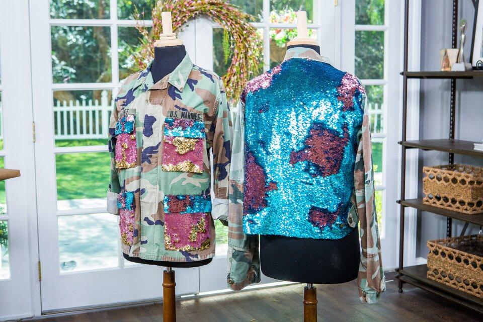 DIY Sequin Camo Jackets