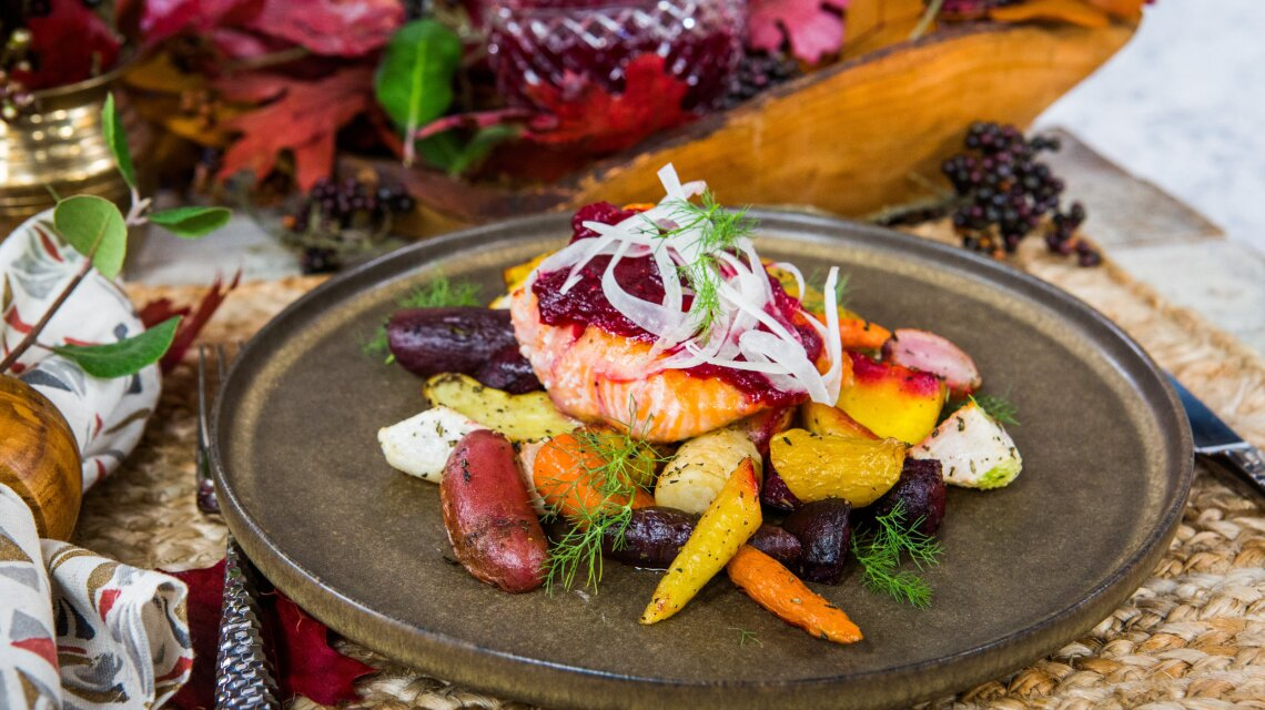 Brad Miller - Cranberry Glazed Salmon with Roasted Root Vegetables And Shaved Fennel