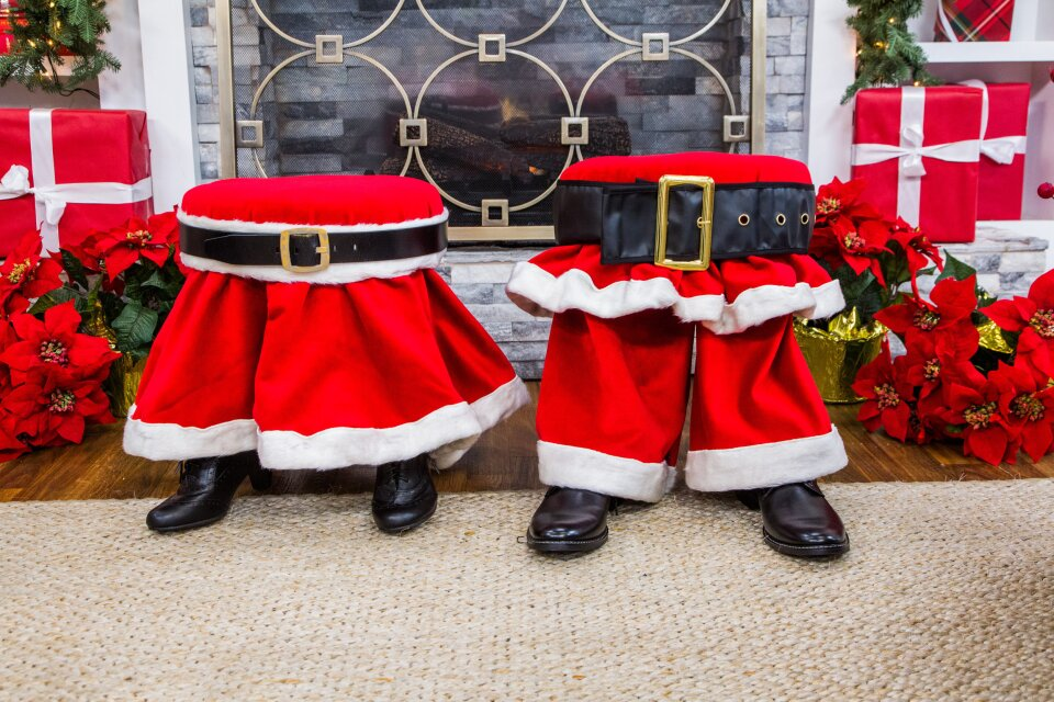 DIY Santa Pants Foot Stool