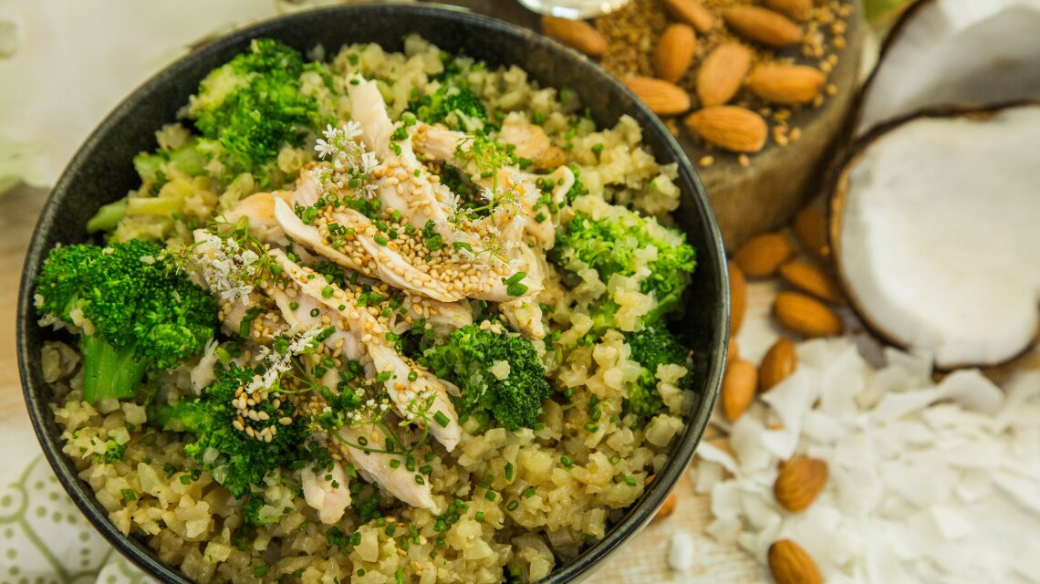 Coconut Cauliflower Rice with Sweet Coconut Chicken and Broccoli