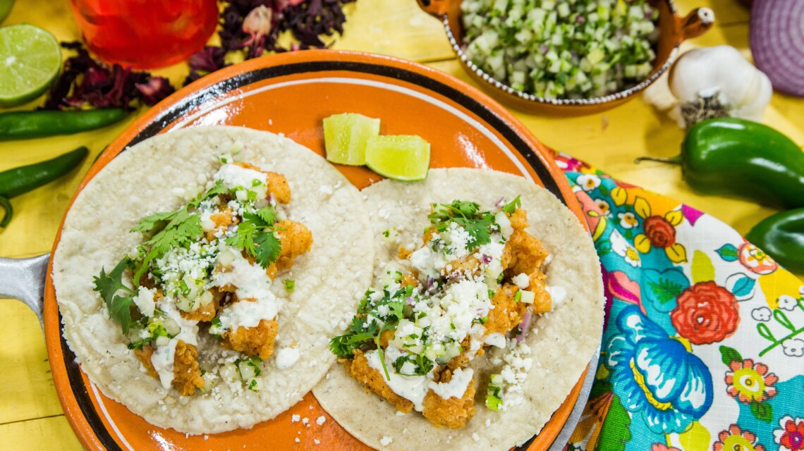 Crispy Shrimp Tacos with Spiced Crema, Asian Pear & Apple Salsa and Cotija Cheese