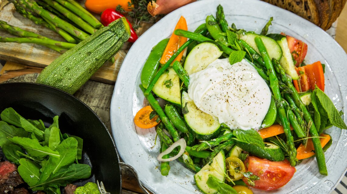 Marinated Seasonal Vegetables, Burrata, Mint and Olive Bread