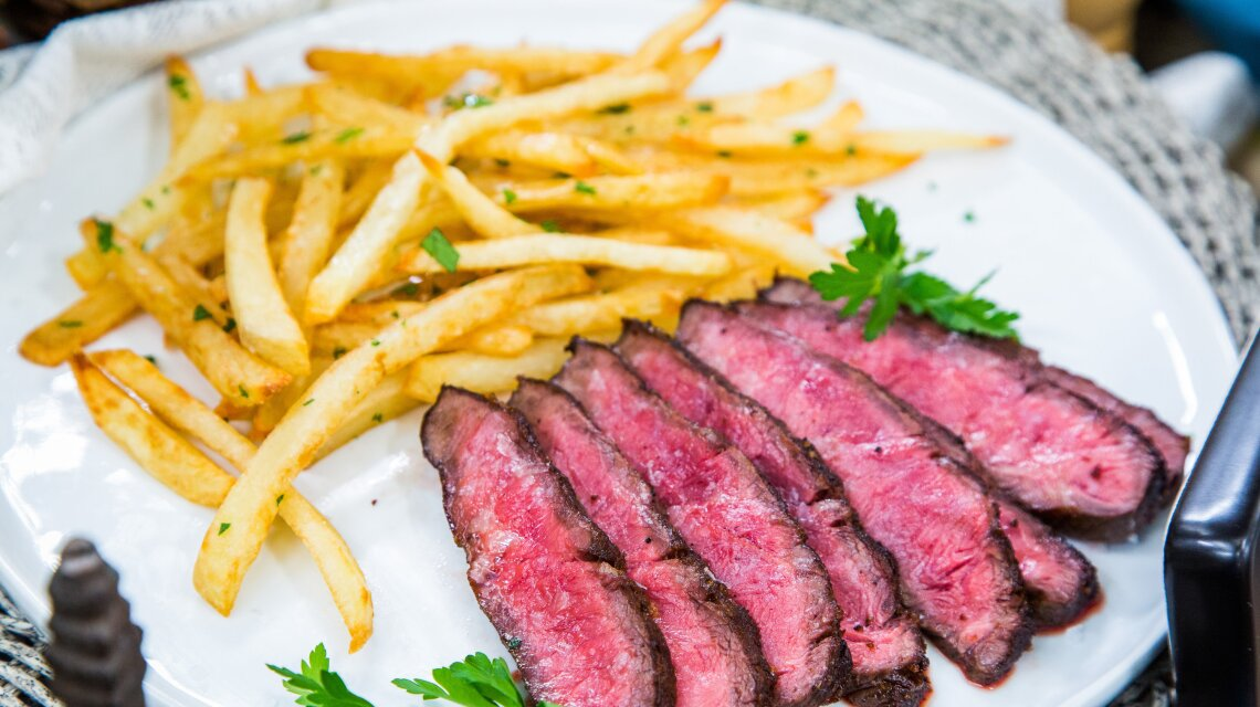 Steak Frites with Red Wine Vinegar Demi-Glace Beurre