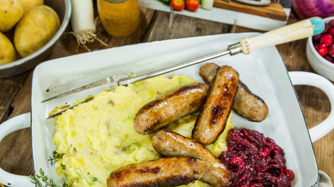 Bangers and Leek Mash with Cranberry Compote