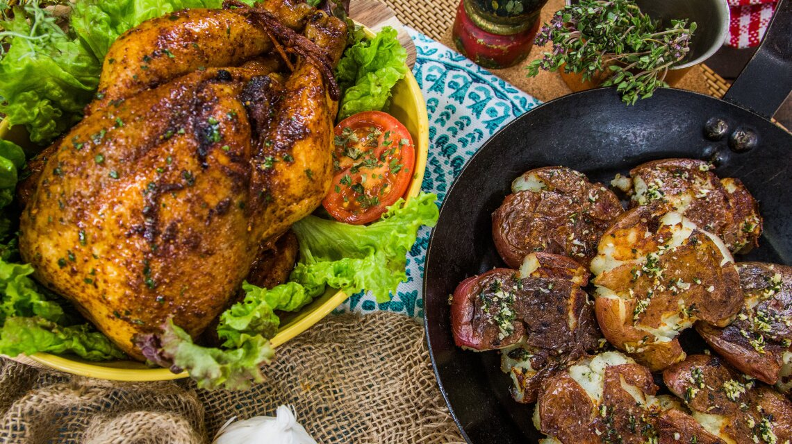 Magic Faux-tisserie Chicken with Smashed Potatoes with Garlic and Thyme