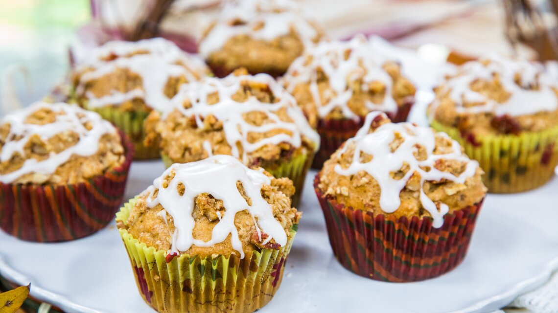 Maple Pecan Streusel Muffins with Cider Glaze