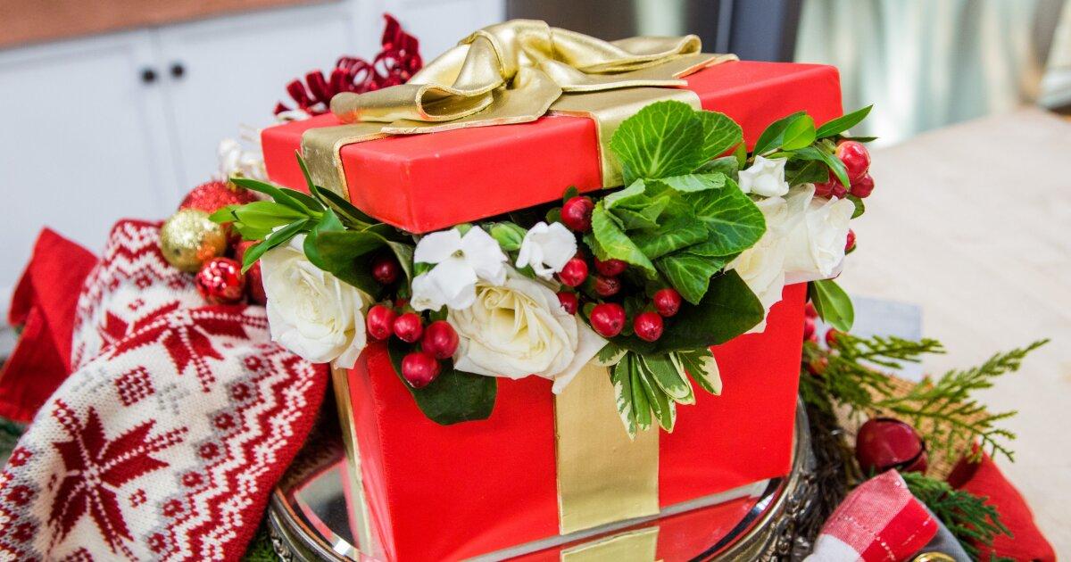 Recipe Christmas Gift Box Cake Home Family