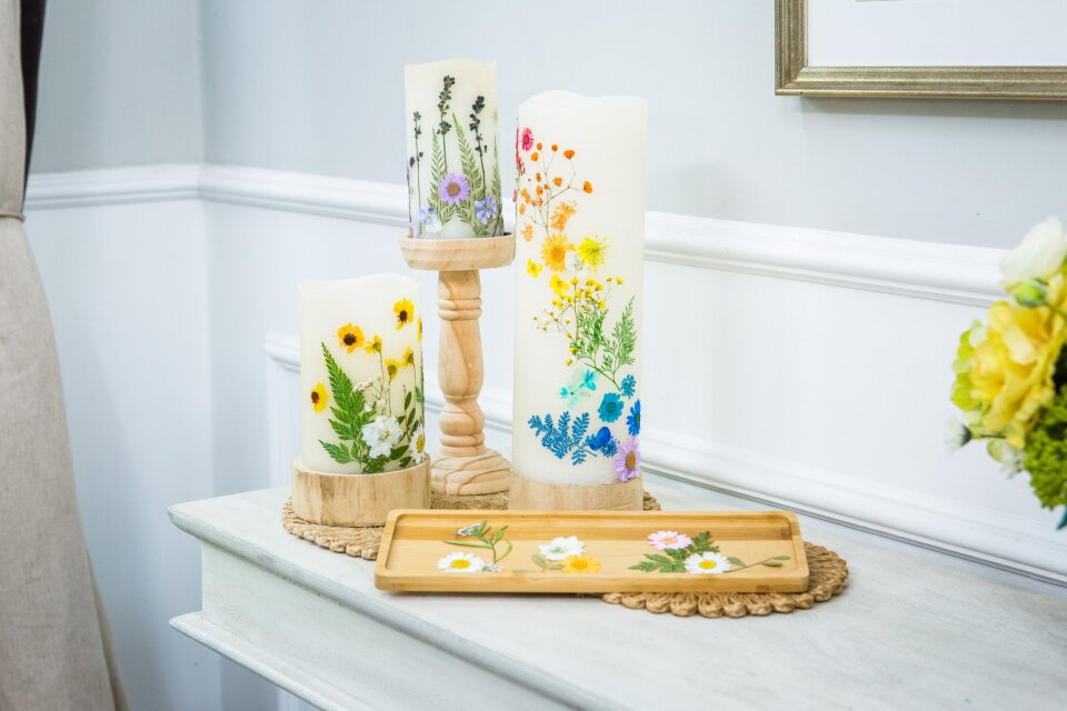 LED Pressed Flower Candle