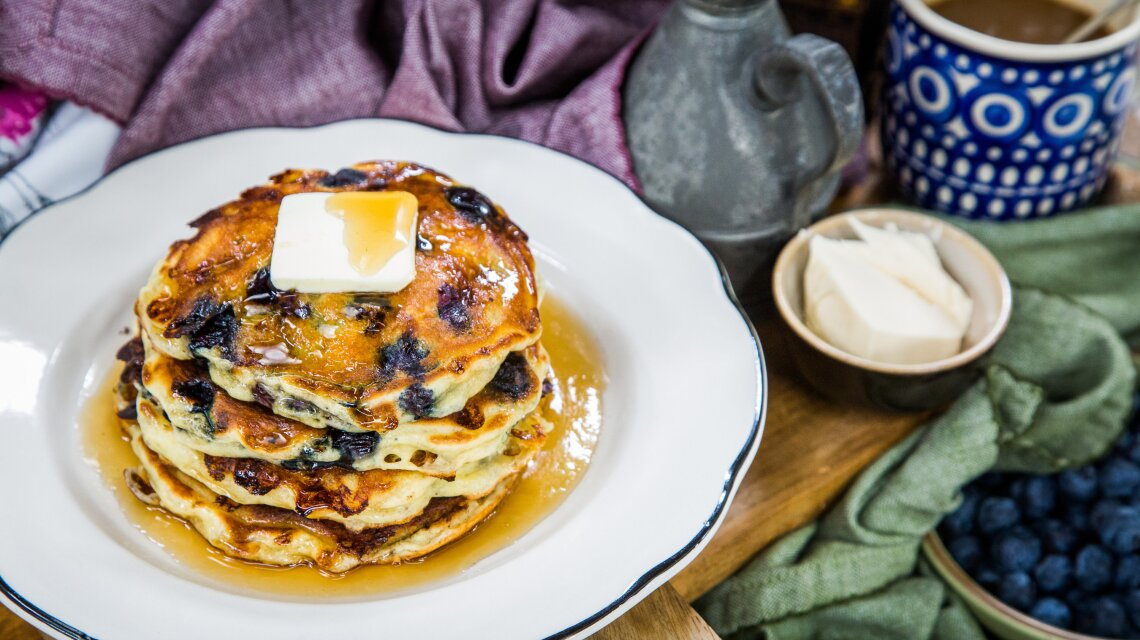 Country Cottage Cheese and Blueberry Pancakes