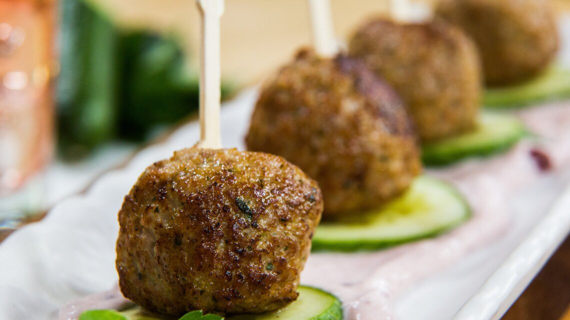 Gluten-Free Turkey Meatballs with Lingonberry Creme Fraiche