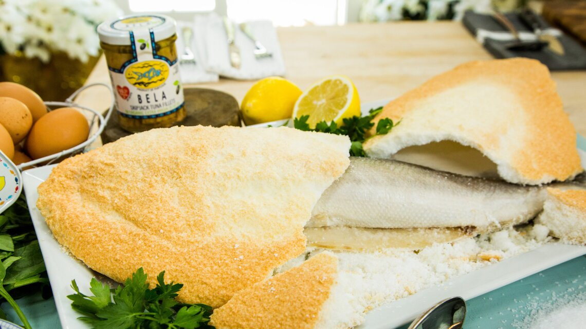 Salt-Crusted Sea Bass by Executive Chef Rick Moonen