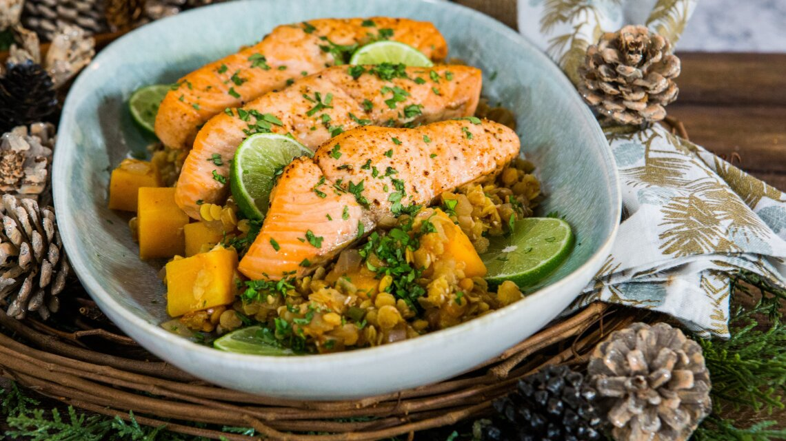 Greg Frey - Broiled Salmon with Butternut Squash and Lentils