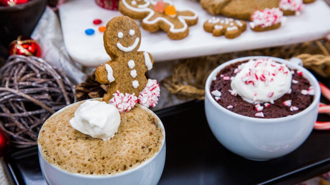 Peppermint Mocha Brownie Mug Cake and Cinnamon Swirl Gingerbread Mug Cake