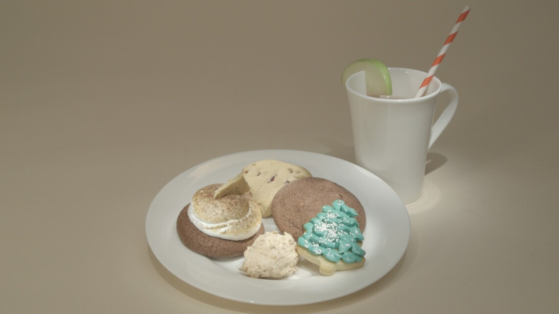 Anna's Macaroons, S'mores Cookies, Cranberry Orange Cookie, and Hot Cocoa Snickerdoodle with Old Fashioned Homemade Cider