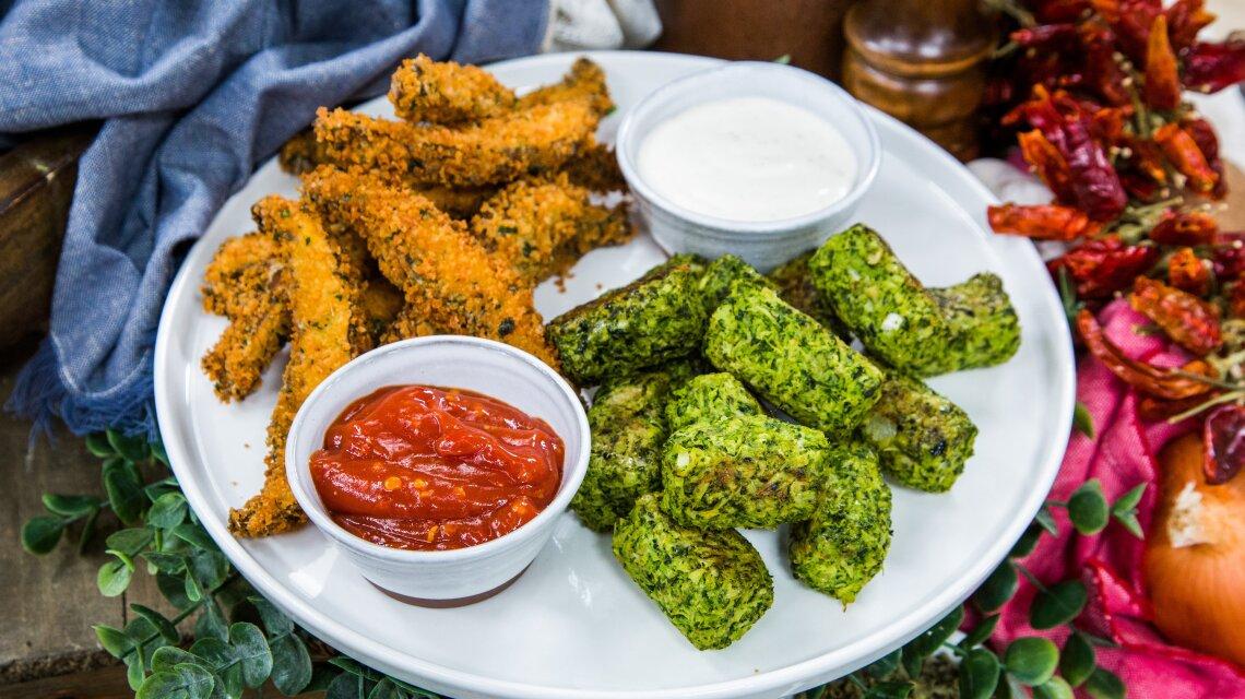 Baked Broccoli Tots and Cheesy Portobello Fries