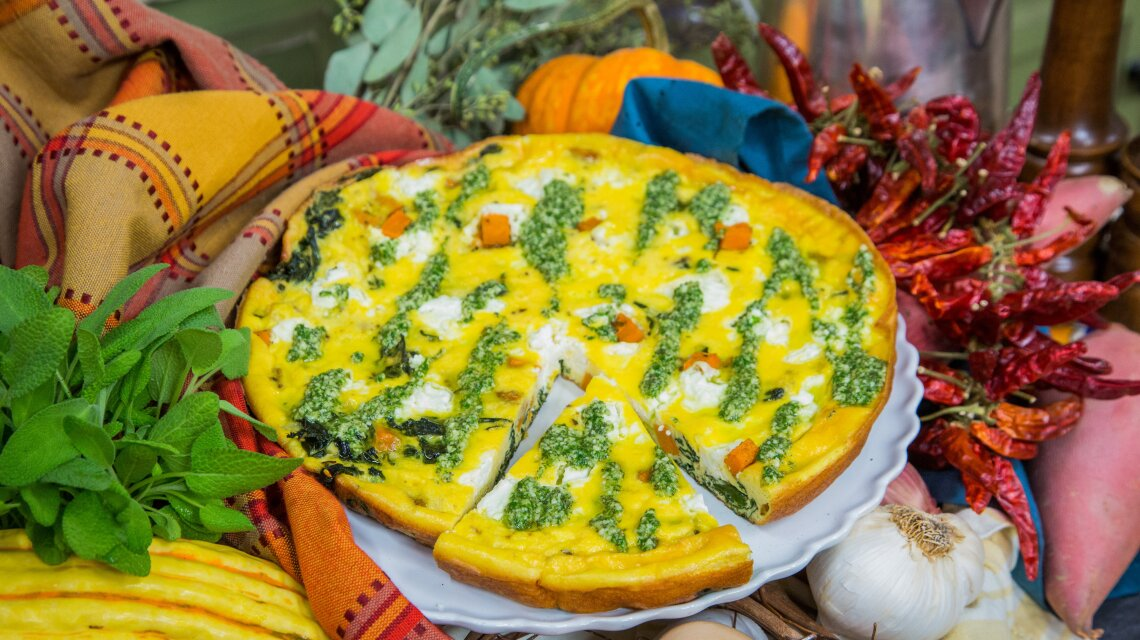 Sweet Potato and Goat Cheese Frittata with Sage Drizzle
