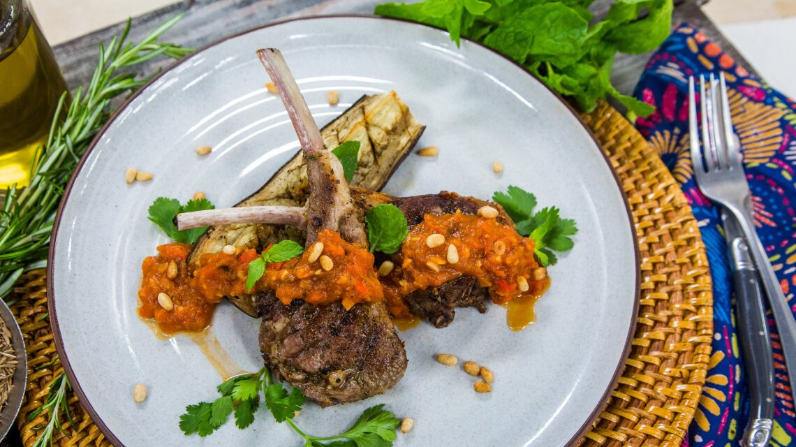 Grilled Lamb Chops with Spicy Tomato Date Harissa Chutney