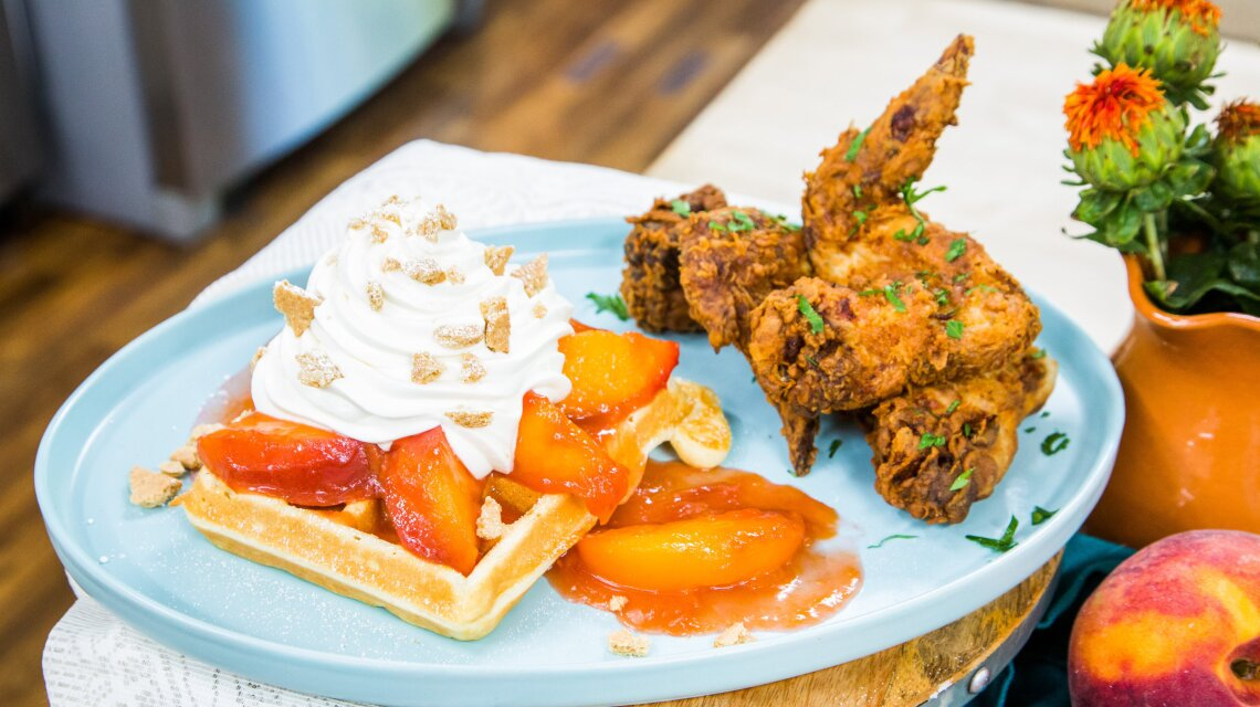 Nana's Chicken and Peach Cobbler Waffle
