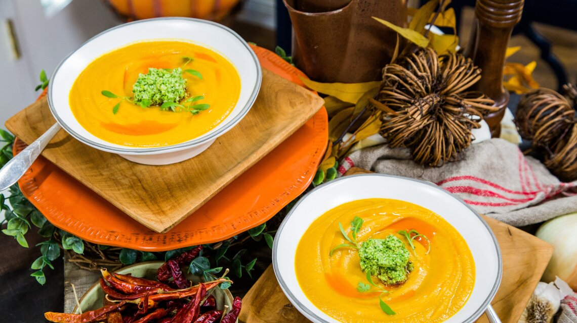 Carrot and Lentil Soup with Broccoli Pesto
